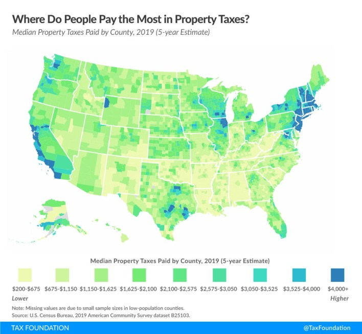 where do people pay the most property taxes?